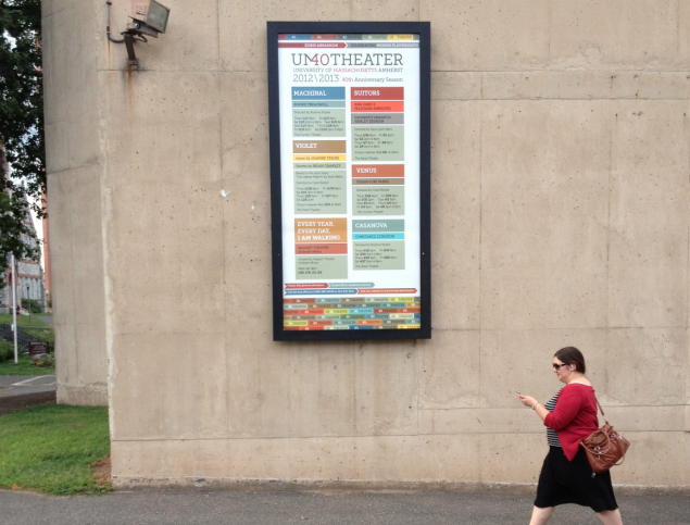 UMass Theater season signage, exterior