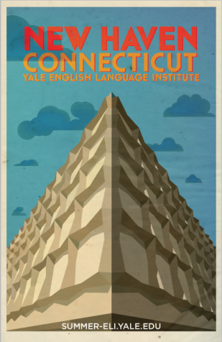 Poster for the summer classes in the English Language Institute at Yale University, done in the style of an Art Deco travel poster